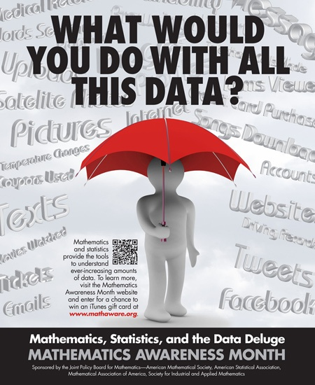 "April is Math Awareness Month, and the theme for 2012 is ""Mathematics, Statistics, and the Data Deluge."""