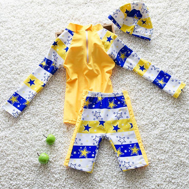 Children's Bikini Kids Swimwear Girl Children Boy Swimsuit Baby Cap Long Sleeve Feeding Biquini Infantil Menina Maillot De Bain