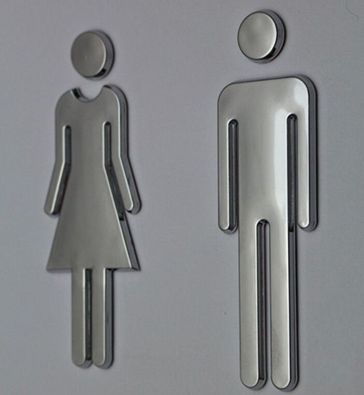 CYD BRAND (7.8 Inch) Modern Acrylic Adhesive Backed Menu0027s And Womenu0027s Or  Unisex Bathroom Sign By Neutral. Modern Universal Bathroom Signage.