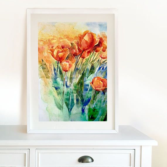 Orange Red Tulips Original Watercolor Painting. Home decor