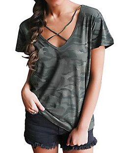 Camiseta+Casual+Simples+Verão,camuflagem+Algodão+Decote+V+Manga+Curta+Média+–+BRL+R$+42,18