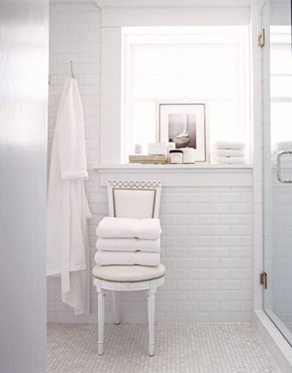 Classic Bathroom   White Brick Tiles And White Floor Part 97