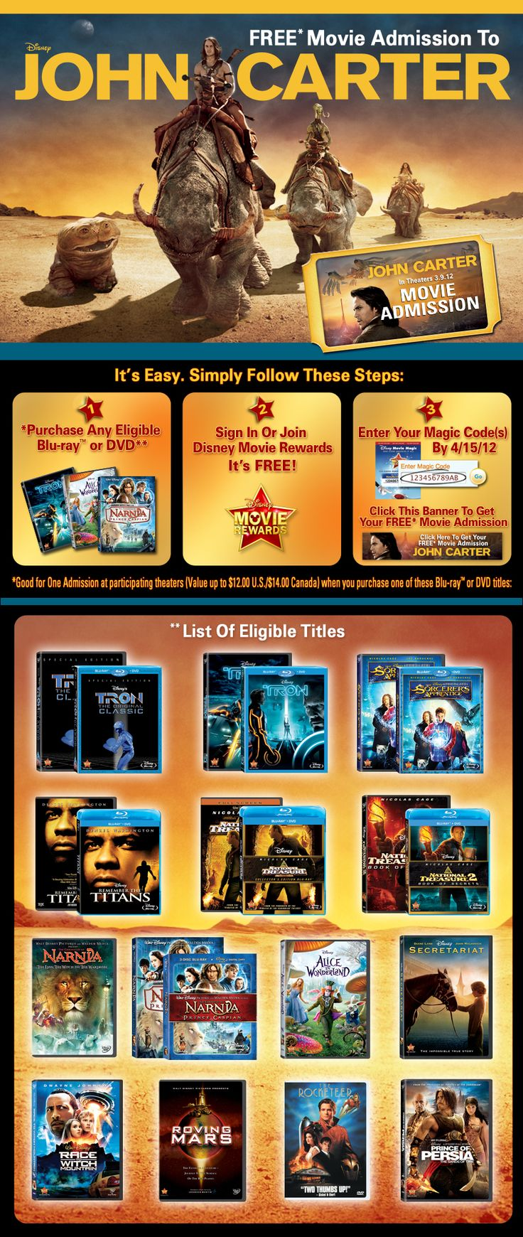 Free ticket to John Carter when you enter your movie code from select titles.