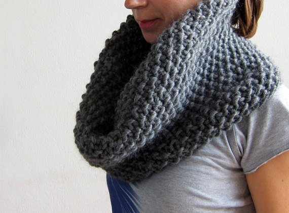 Oversized chunky cowl / shawl / snood.100% super soft Norwegian new wool from OkBee on Etsy.
