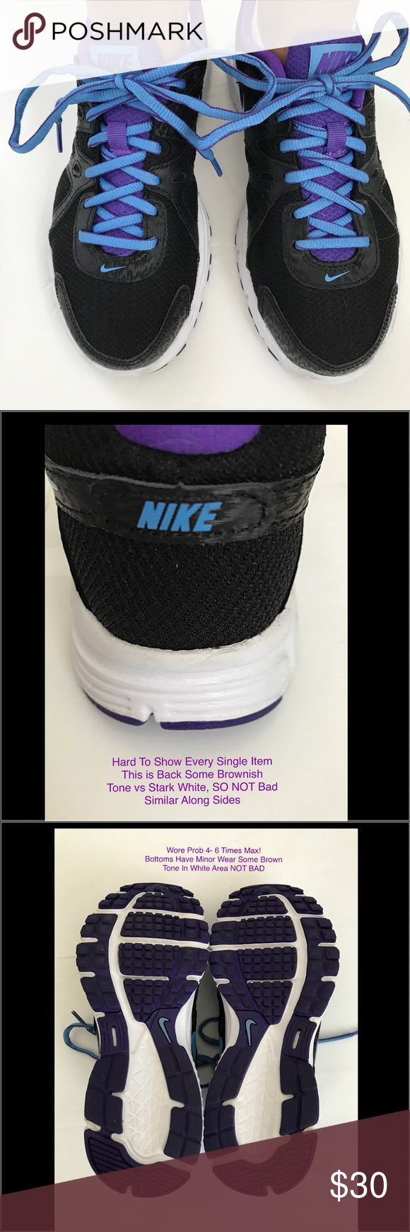 Great Condition Nike Revolution 2 Ladies 6.5 Shoes Pre-Owned - Nike Revolution Women's Running Shoes Great Condition! 🔹Please See Pictures To Show They Have Been Worn 🔹Wore 4-6 Times Max (didn't run) 😳   •Women's Size: 6.5 •Purple, Blue & Black  •Breathable mesh upper w/ synthetic overlays for structured support, SO COMFORTABLE  •Cushioned footbed, Leather / Synthetic  •Rubber outsole with waffle pattern for traction and durability •Deep flex grooves provide enhanced flexibility • Paid…