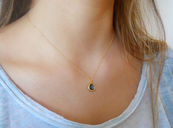 Delicate Gold Necklace;  Tear Drop Pendant Necklace; Crystal Pendant Necklace; Pick your color; Bridesmaid Gift; Layering Necklace;