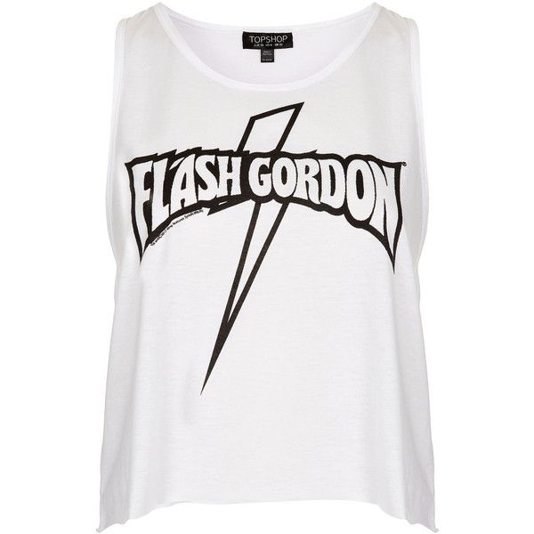 TOPSHOP Flash Gordon Vest (£5) ❤ liked on Polyvore featuring tops, tank tops, shirts, tanks, topshop, white, white vest top, jersey tank, white top and jersey tank top