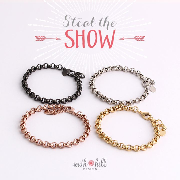 Steal the show this season with the Rolo Chain Bracelets! Wear them with a Vintage Charm for an added flair! #bracelets #jewelry