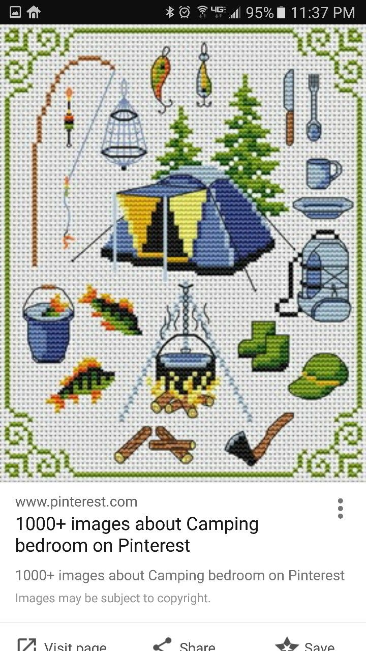 Outdoors camping cross stitch.
