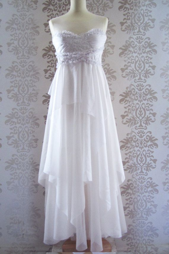 LAURA White Ivory Floral Embroidery Ruffle Romantic Asymetrical Handmade Weddings Long Dress Size S/M (Available for Custom Size). $199.00, via Etsy.