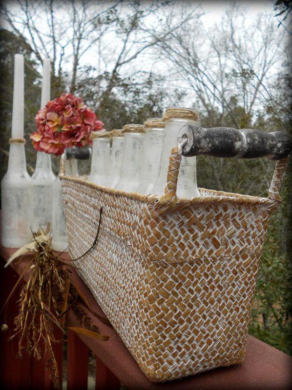 Pays de pièce maîtresse-Français de Pâques mariage réception Agricol Decor-ferme mariage-pays panier-Chic verre bouteilles-« 8 bouteilles & panier » sur Etsy, 44,25€