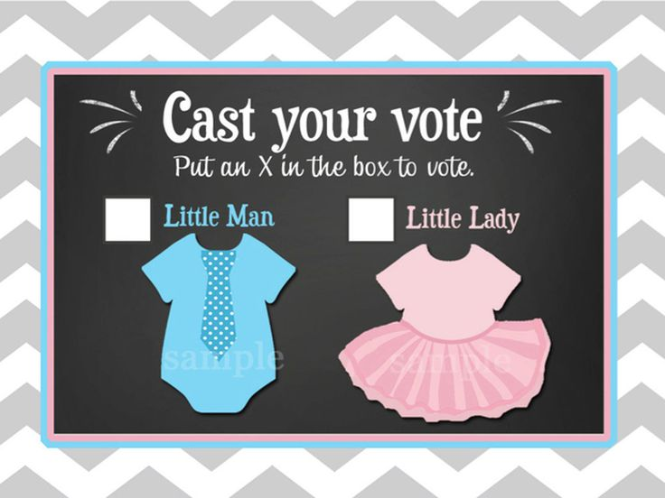 Make your gender reveal party interactive with this cute voting ballot that comes as an instant download PDF from ThatPartyChick on Etsy (print out as many as you need to match your number of guests). Will team blue or team pink win?