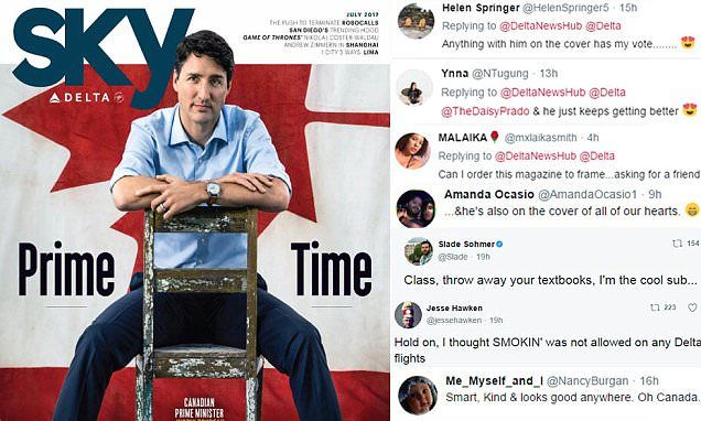 The Canadian Prime Minister appears on the cover of the Delta Airline in-flight magazine Sky and the shoot has proven very popular among Twitter users.
