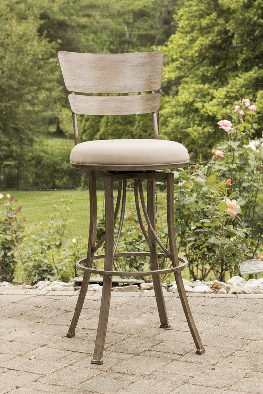 Simple lines the Ilyana indoor/outdoor stool extends traditional style and comfort to your kitchen or patio for indoor or outdoor entertaining. Boasting a heavy-duty steel frame, a beautifully rich champagne powder coated finish for extra durability and protection against harsh UV rays, a 360-degree swivel mechanism, weather resistant sunbrella spectrum mushroom fabric, and a reticulated quick dry foam seat, these durable and attractive stools are ideal for your indoor and outdoor spaces...