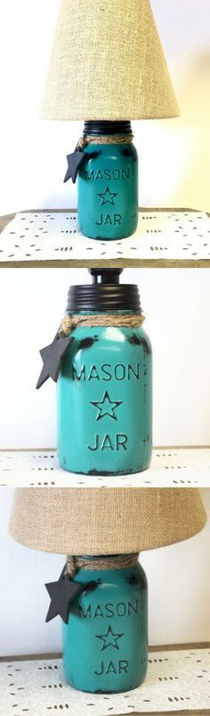 This. Is. ADORABLE! I cannot wait to order this!!  Vintage Mason Star Jar Teal Green Lamp with Burlap Shade #rustic #rusticdecor #masonjar #teal #lamp #rusticlamp #affiliate