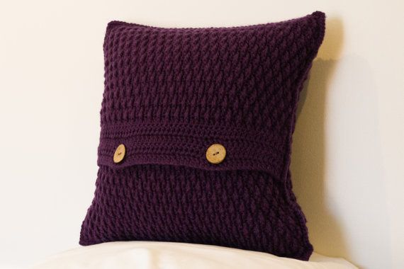 Crochet Cushion Cover Purple Cushion Cover by TorvaigDesigns