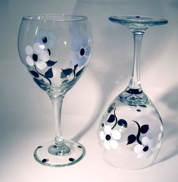 Black and White Floral Painted Wine Glasses