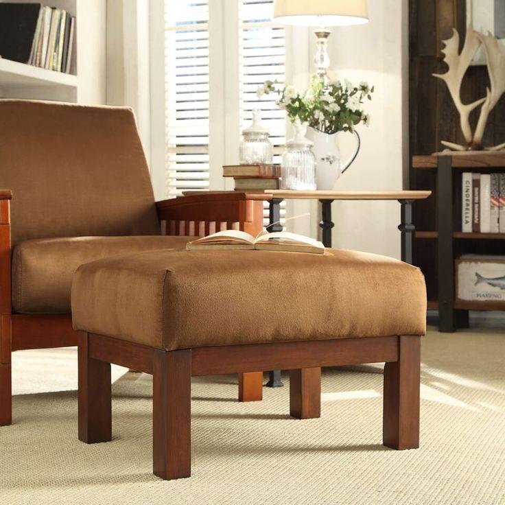 Hills Mission-style Oak Ottoman by iNSPIRE Q Classic (Rust Microfiber), Orange (Fabric)