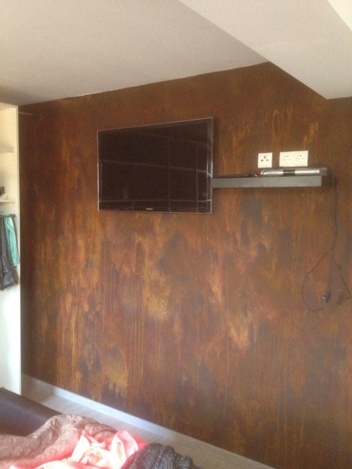 Rost Wand Graue Wände Wohnzimmer Hausrenovierung