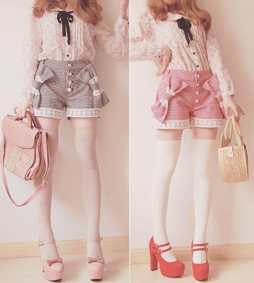 "Girls Brand ""Bobon21"" Sweet system Shop: All two-color ribbon shorts pocket big zigzag pattern:"
