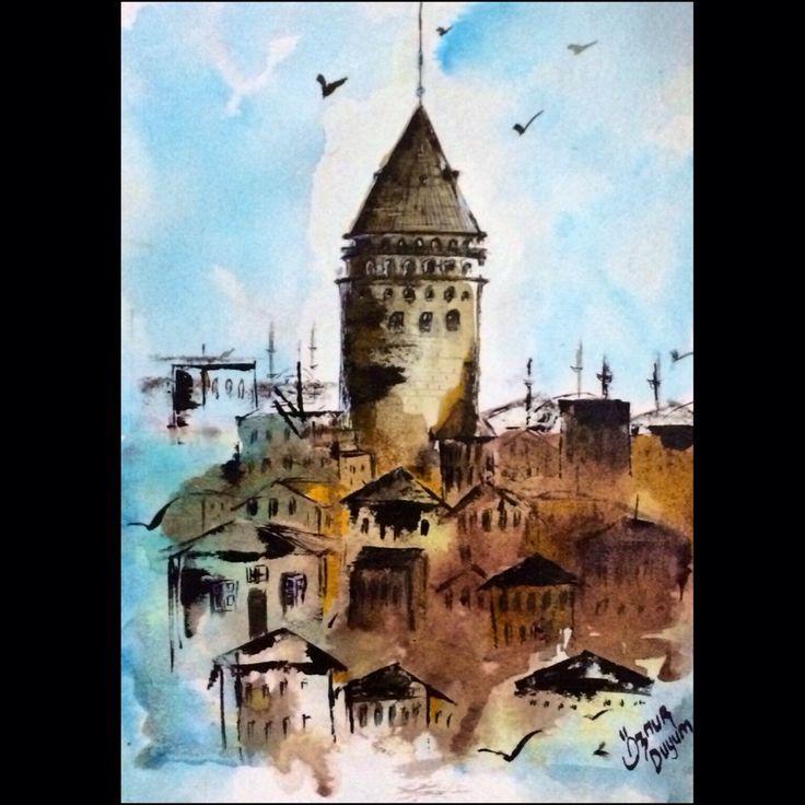 Watercolor Galata Kulesi