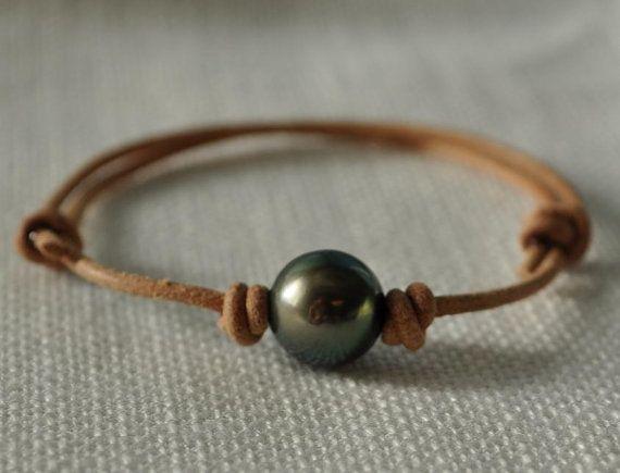 Tahitian Pearl Tan Leather Bracelet - Genuine Tahitian Pearl