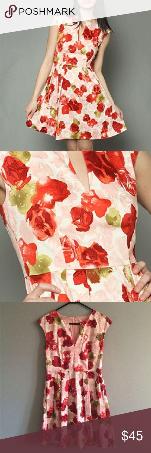 Bb Dakota rose floral dress, 10 EUC BB Dakota dress, size 10. Heavier fabric and really well made. Hidden zipper in back. Reminds me of an Emily and Fin dress. ModCloth Dresses