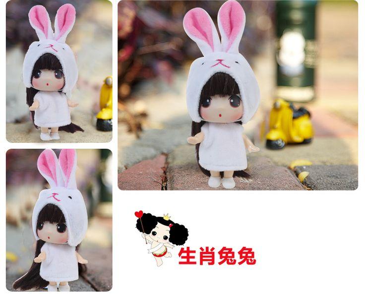 12 шт./компл. мини Ddung кукла 13 см латекс прекрасные длинные волосы кукла китайские знаки рождественский подарок на день рождения для S201202 купить на AliExpress