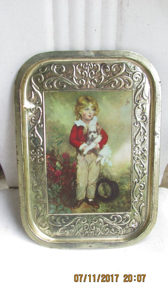 REDUCED Vtg Shabby Silver Tone Victorian Scroll Designs Young Boy Holding Dog Picture Metal  Serving Tray, Lobeco, Handcrafted in  Italy