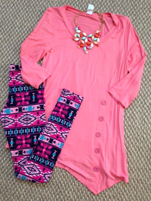 Fuchsia Teal Aztec Print Leggings Teal Hi Low Side Button Tunic Winter Outfit Summer outfit www.facebook.com/thinkpinkboutique1