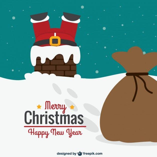 Carte de Noël avec le Père Noël jambes