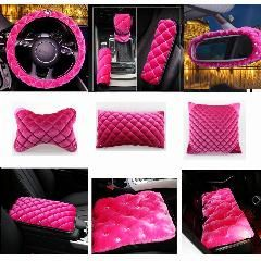 [ 73% OFF ] Beautiful Pink Rhinestones Covered Fashion Plush Products Women Luxury Car Accessories Four Season Universal Fit Car-Styling