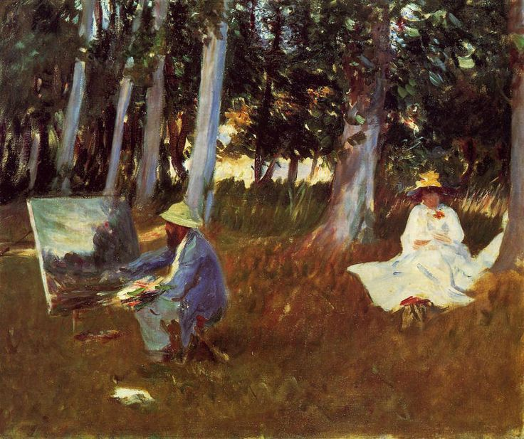 """""""Claude Monet Painting by the Edge of a Wood"""", Oil On Canvas by John Singer Sargent (1856-1925, Italy)"""