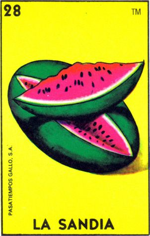 loteria, mexican, la sandai, watermelon