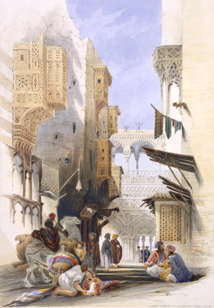"""""""Street Leading to El Azhar, Grand Cairo"""", pub. 1846 Prints by A. Margaretta Burr  (Note the exaggerated Meshrabiyeh and the very elaborate bridge-like structure in the distance.)"""