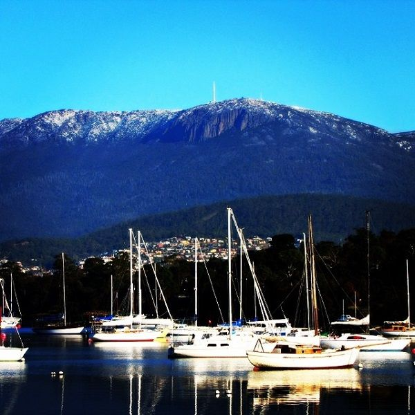 Boats in the #Bellerive Marina, with Mt Wellington over #Hobart in the background. #Tasmania Article and photo for think-tasmania.com