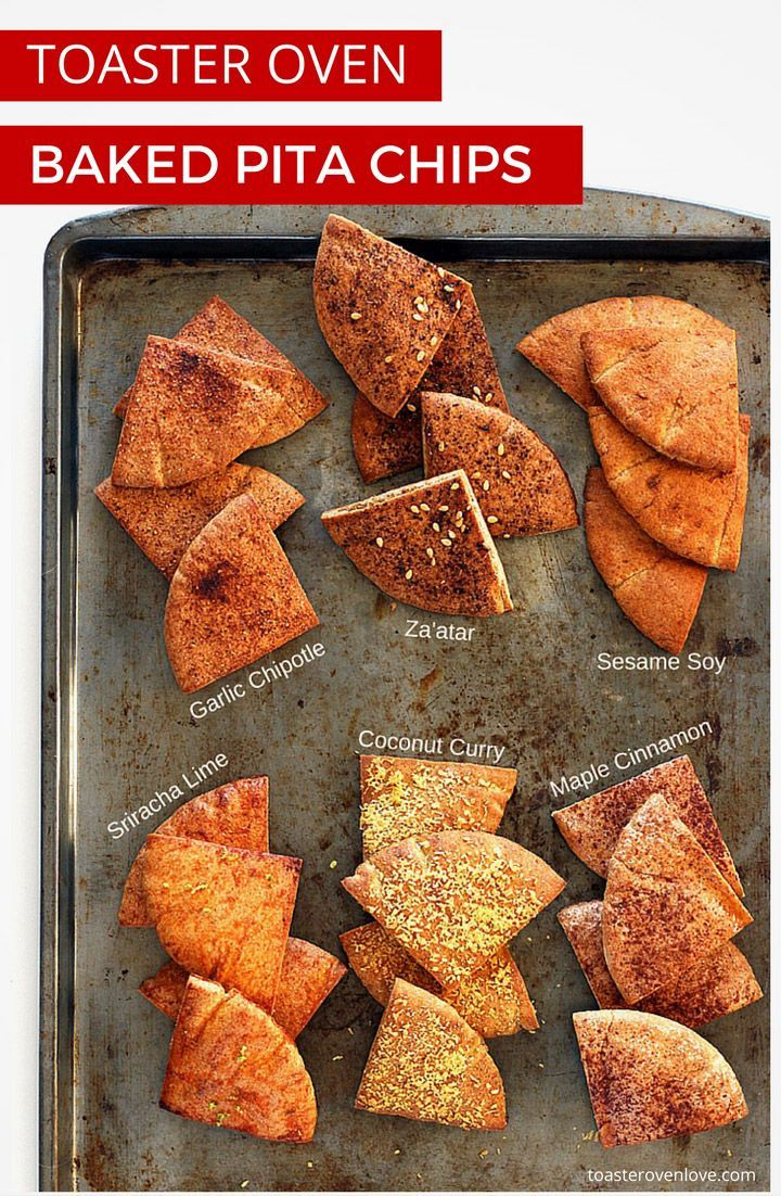 Toaster Oven Baked Pita Chips. Less than 15 minutes for a small batch of flavored pita chips. Fire up your toaster oven and enjoy this quick and healthy snack today!