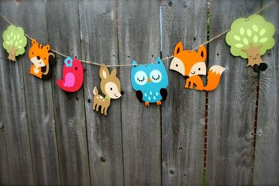 Make it yourself:) -Woodland Animal Garland Birthday Banner by BecauseofBrenna on Etsy, $18.00