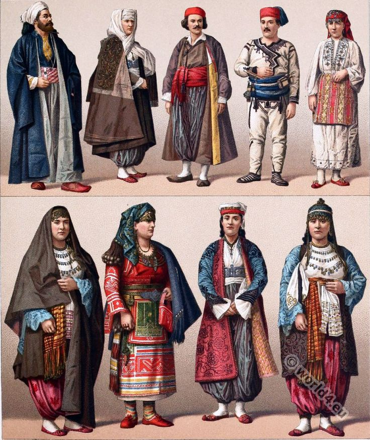 Historical Turkish male and female costumes. Ottoman Empire.