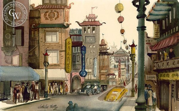 Chinatown, c. 1940's, California art by Jake Lee. HD giclee art prints for sale at CaliforniaWatercolor.com - original California paintings, & premium giclee prints for sale