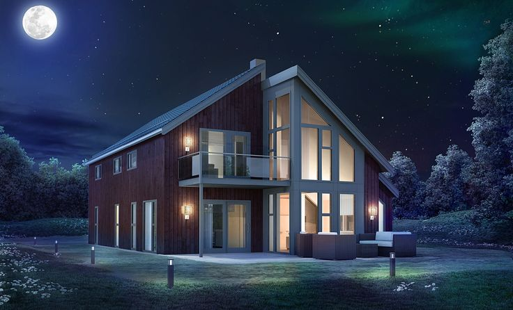 Nova er satt sammen av to volumer, som forskyves for å skape et naturlig inngangsparti og uteplass under tak. Med den høye glassfasaden og åpenheten mellom etasjene dannes et lyst og luftig oppholdsrom. http://www.norgeshus.no/hus/nova/