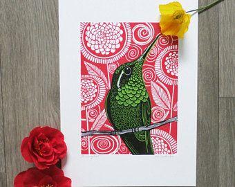Hummingbird, Original Linocut Print, Signed Open Edition, Free Postage in UK, Hand Pulled, Printmaking,