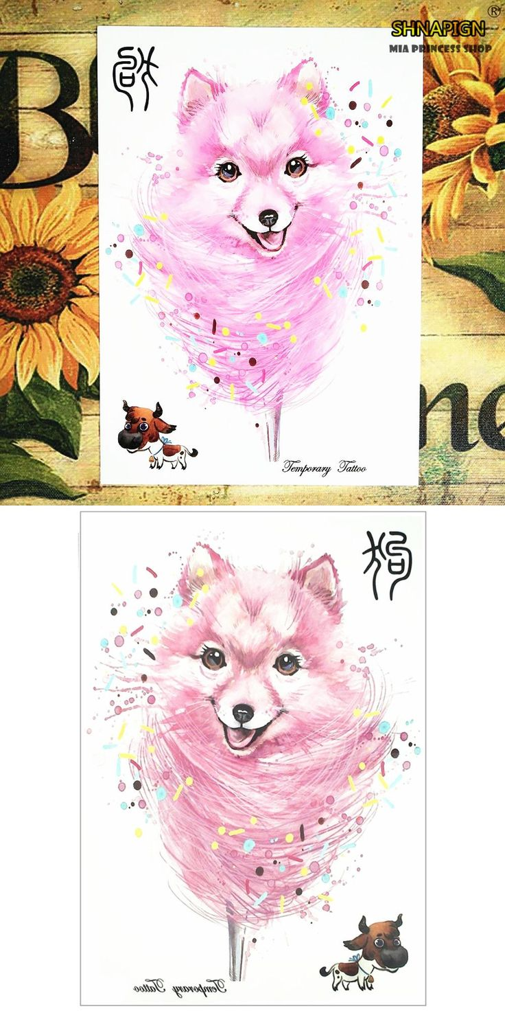 [Visit to Buy] Pink Dog Chinese New Year 12 Zodiac Animals Temporary Body Art, Flash Tattoo Stickers 21*15cm Waterproof Henna Tato Sex Products #Advertisement