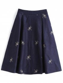 Dragonfly Embroidered Wool Blend Midi Skirt