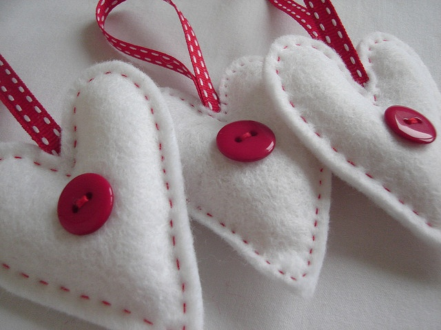 White Felt Heart Decorations