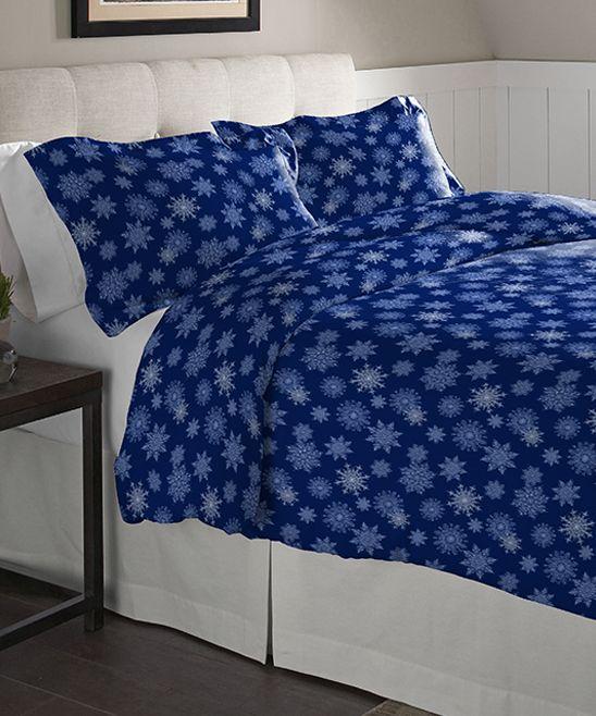 Navy Snowflakes Flannel Duvet Cover Set