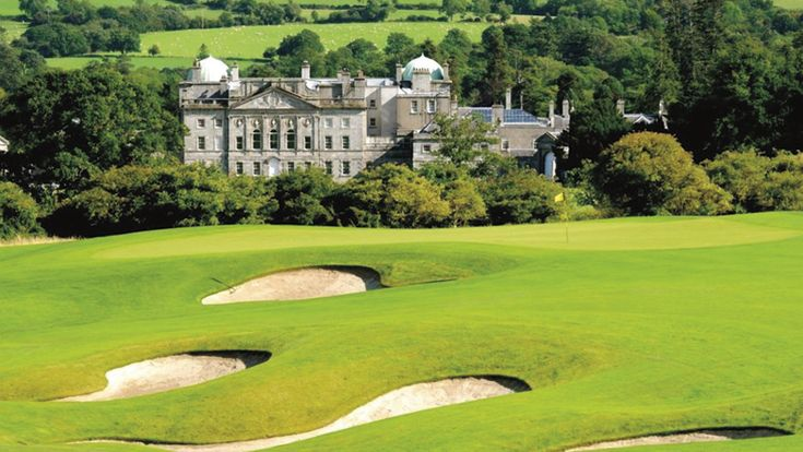 Stunning Powerscourt Golf Club with Powerscourt House in the background. www.powerscourt.ie/golfclub
