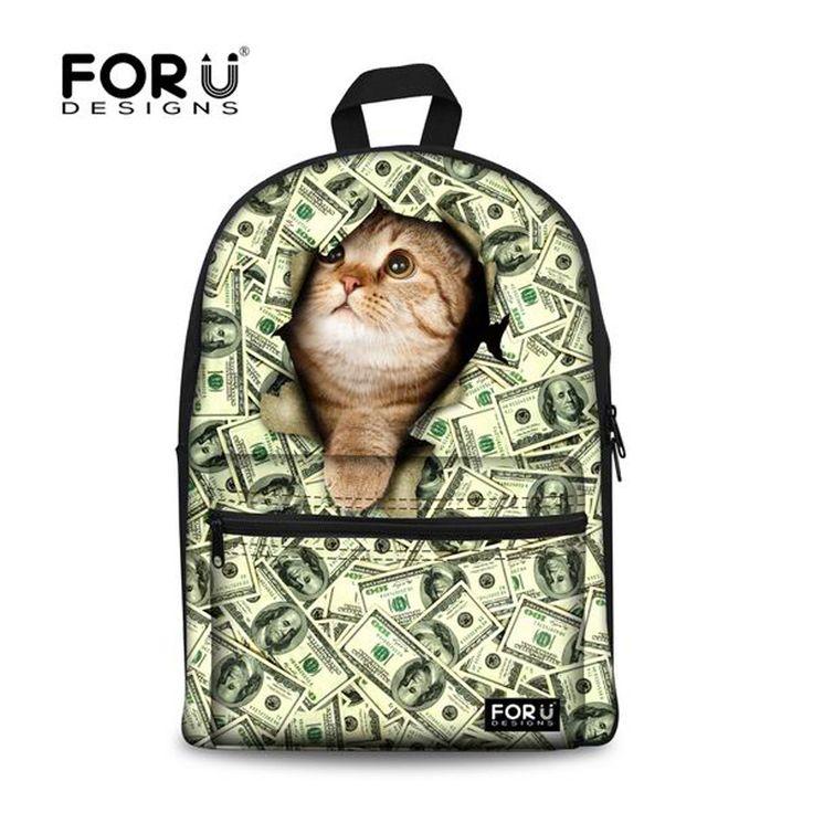 Cute Kids Cat Printing Backpack 3D Animal Cotton Backpack for Children Casual Teenage Girls Bookbag Lady Women Travel Backbag