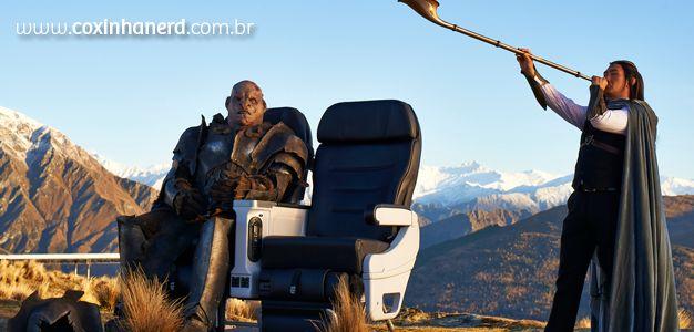 E está sendo gravado mais um vídeo incrível, inspirado em O Hobbit, da Air New Zealand!