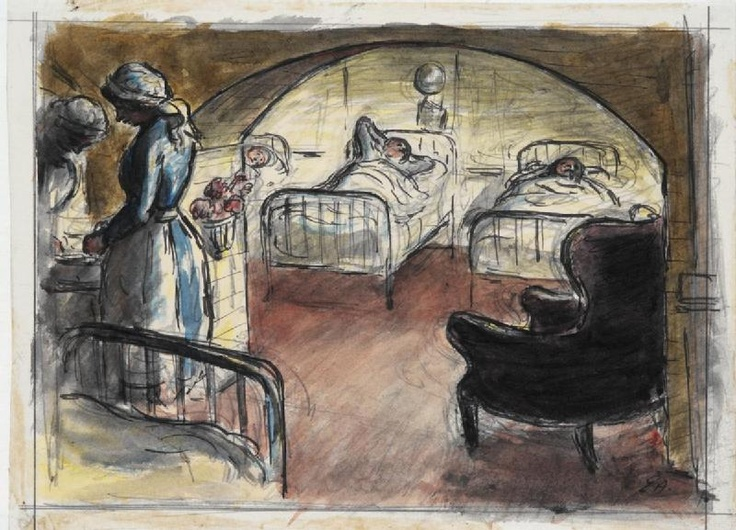 Royal Herbert Hospital, Woolwich: Basement Ward (art) Made by: Ardizzone, Edward Jeffrey Irving image: A basement ward with three bed-ridden patients. To the right of the image is a large arm chair. To the left are two nurses leaning over a table.